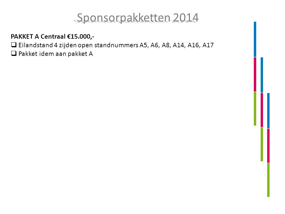 PAKKET A Centraal €15.000,-  Eilandstand 4 zijden open standnummers A5, A6, A8, A14, A16, A17  Pakket idem aan pakket A Sponsorpakketten 2014