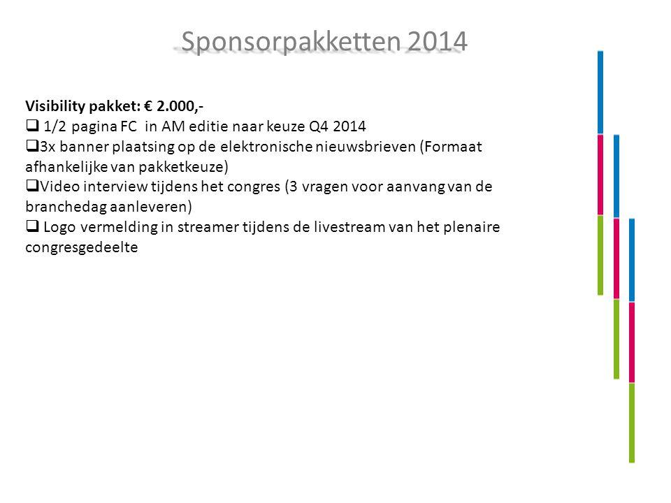 Visibility pakket: € 2.000,-  1/2 pagina FC in AM editie naar keuze Q4 2014  3x banner plaatsing op de elektronische nieuwsbrieven (Formaat afhankel