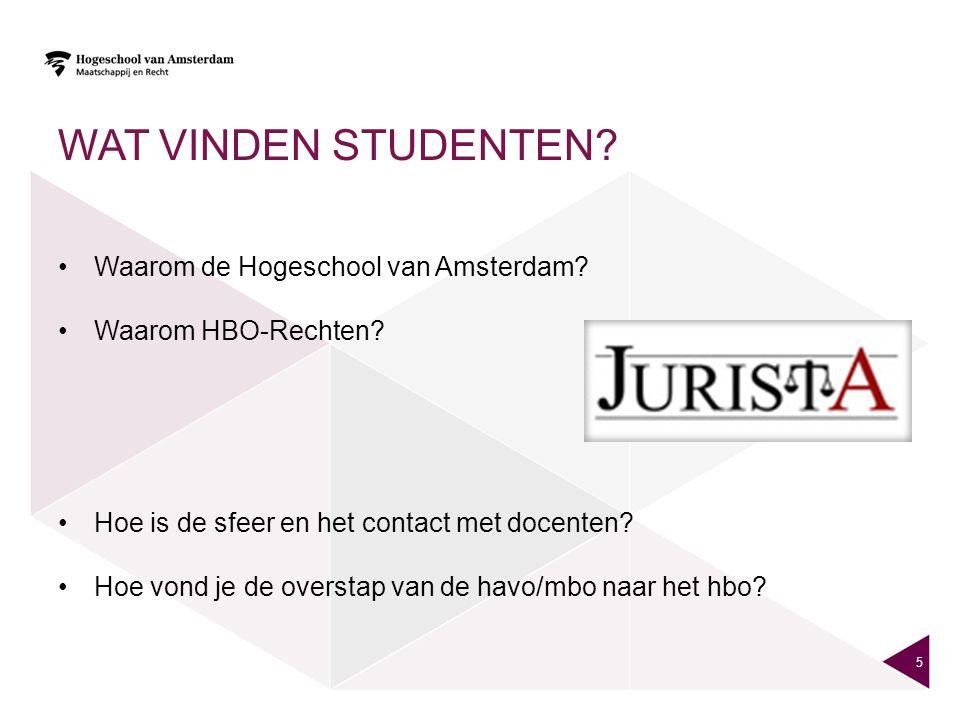 WAT VINDEN STUDENTEN.•Waarom de Hogeschool van Amsterdam.