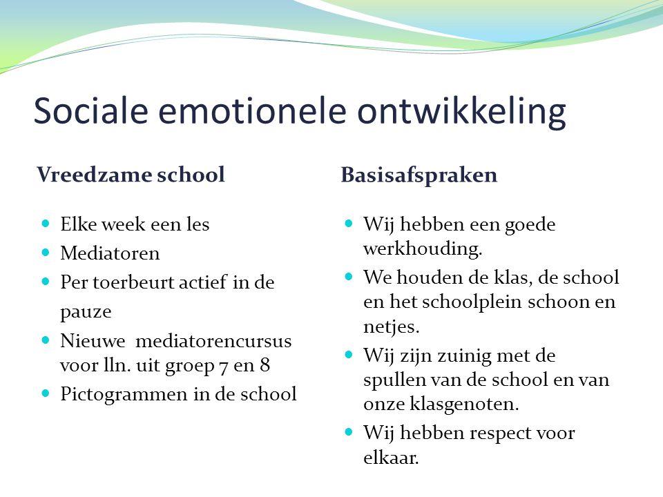 Sociale emotionele ontwikkeling Vreedzame school Basisafspraken  Elke week een les  Mediatoren  Per toerbeurt actief in de pauze  Nieuwe mediatorencursus voor lln.
