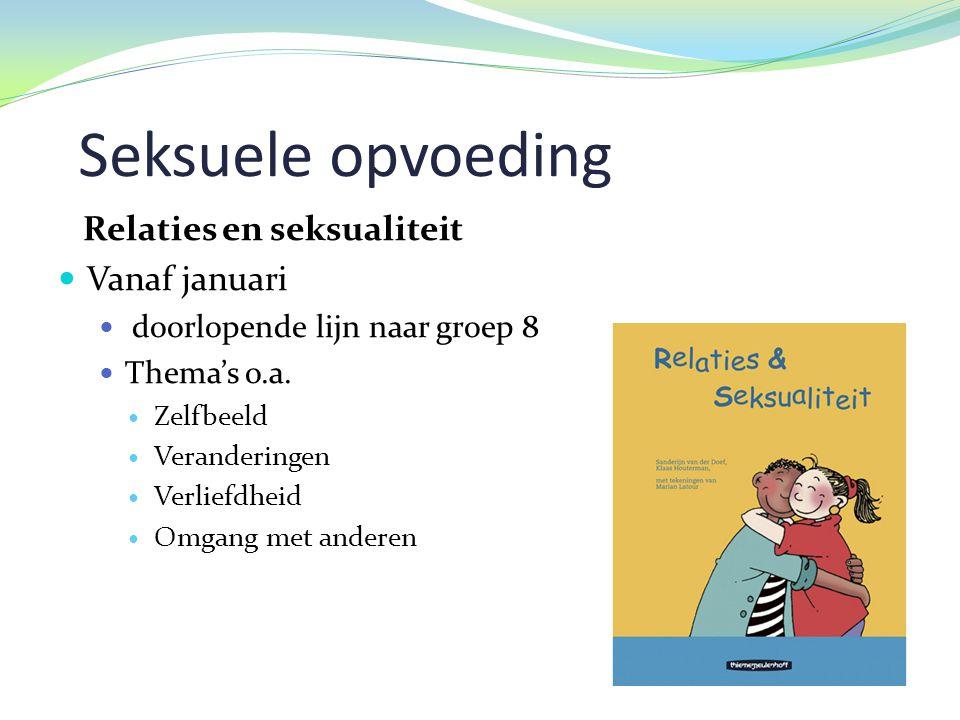 Seksuele opvoeding Relaties en seksualiteit  Vanaf januari  doorlopende lijn naar groep 8  Thema's o.a.