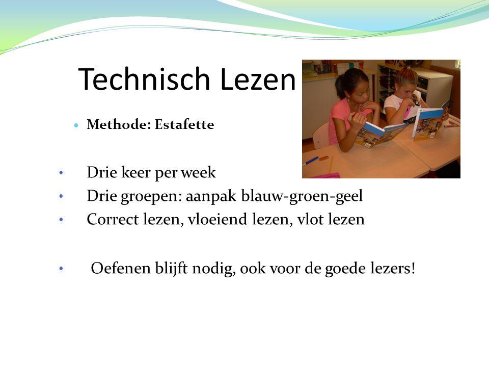 Technisch Lezen  Methode: Estafette • Drie keer per week • Drie groepen: aanpak blauw-groen-geel • Correct lezen, vloeiend lezen, vlot lezen • Oefenen blijft nodig, ook voor de goede lezers!