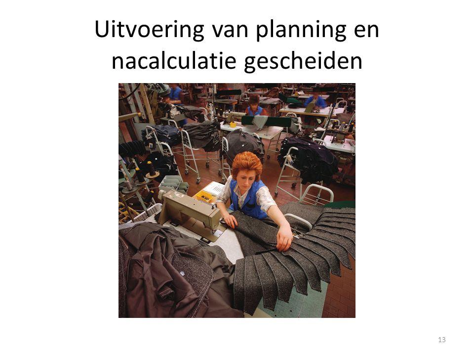 Uitvoering van planning en nacalculatie gescheiden 13
