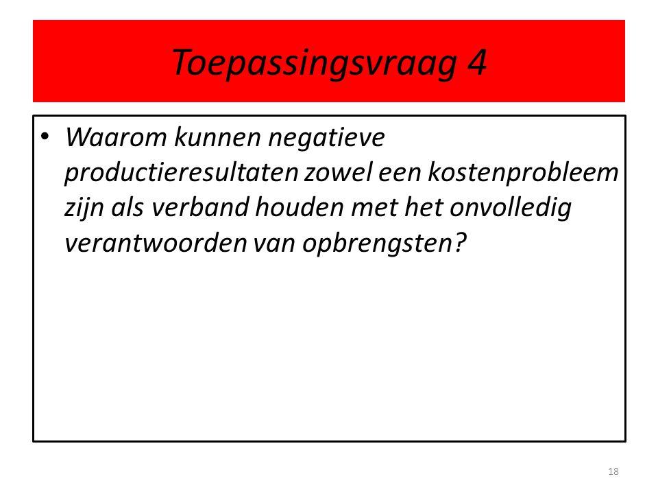 Toepassingsvraag 4 • Waarom kunnen negatieve productieresultaten zowel een kostenprobleem zijn als verband houden met het onvolledig verantwoorden van