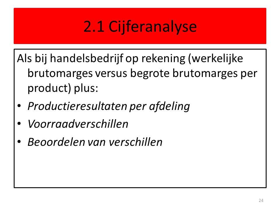 2.1 Cijferanalyse Als bij handelsbedrijf op rekening (werkelijke brutomarges versus begrote brutomarges per product) plus: • Productieresultaten per a