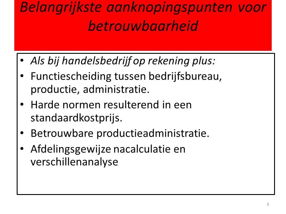 Belangrijkste aanknopingspunten voor betrouwbaarheid • Als bij handelsbedrijf op rekening plus: • Functiescheiding tussen bedrijfsbureau, productie, a