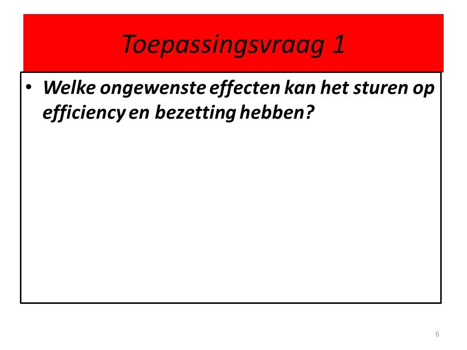 Toepassingsvraag 1 • Welke ongewenste effecten kan het sturen op efficiency en bezetting hebben? 6