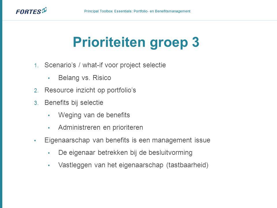 Prioriteiten groep 3 1. Scenario's / what-if voor project selectie • Belang vs. Risico 2. Resource inzicht op portfolio's 3. Benefits bij selectie • W