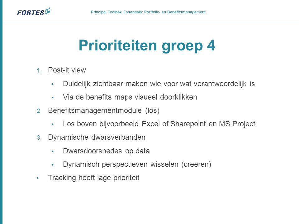 Prioriteiten groep 4 1. Post-it view • Duidelijk zichtbaar maken wie voor wat verantwoordelijk is • Via de benefits maps visueel doorklikken 2. Benefi