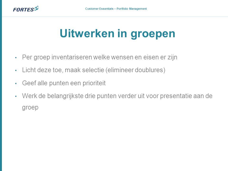 Uitwerken in groepen Portfolio en Benefits Management