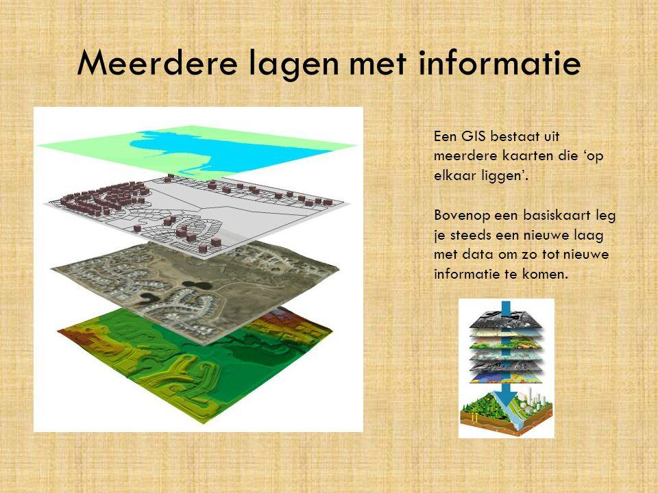 Meerdere lagen met informatie Een GIS bestaat uit meerdere kaarten die 'op elkaar liggen'. Bovenop een basiskaart leg je steeds een nieuwe laag met da