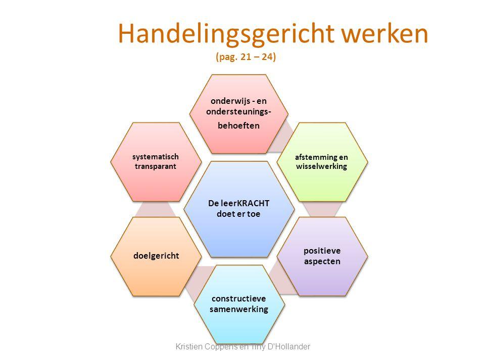 Handelingsgericht werken (pag. 21 – 24) De leerKRACHT doet er toe onderwijs - en ondersteunings- behoeften afstemming en wisselwerking positieve aspec