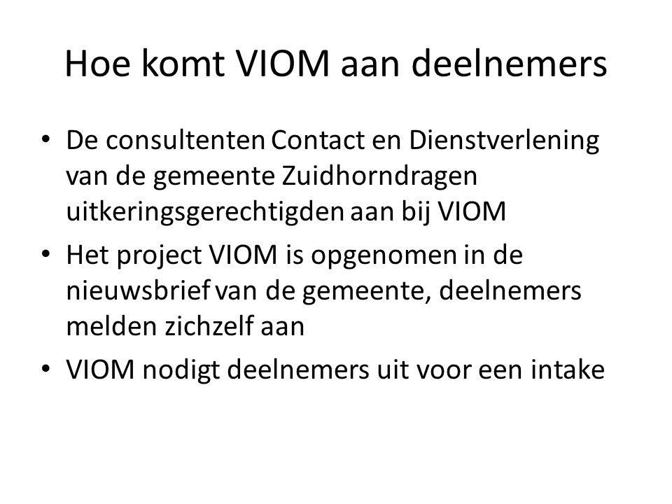Hoe komt VIOM aan deelnemers • De consultenten Contact en Dienstverlening van de gemeente Zuidhorndragen uitkeringsgerechtigden aan bij VIOM • Het pro
