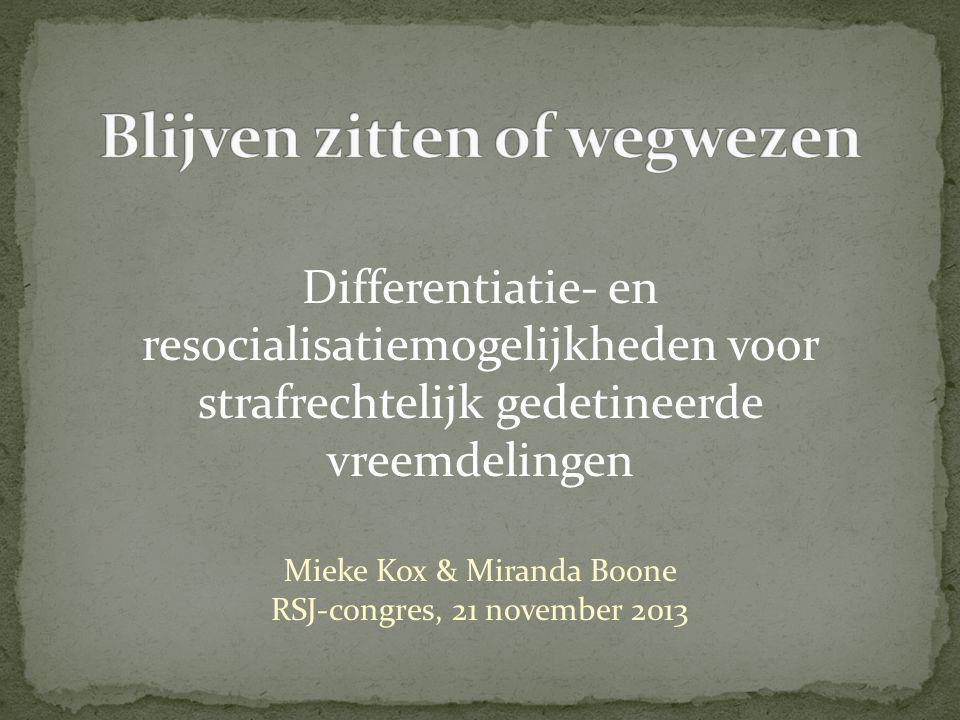 Differentiatie- en resocialisatiemogelijkheden voor strafrechtelijk gedetineerde vreemdelingen Mieke Kox & Miranda Boone RSJ-congres, 21 november 2013
