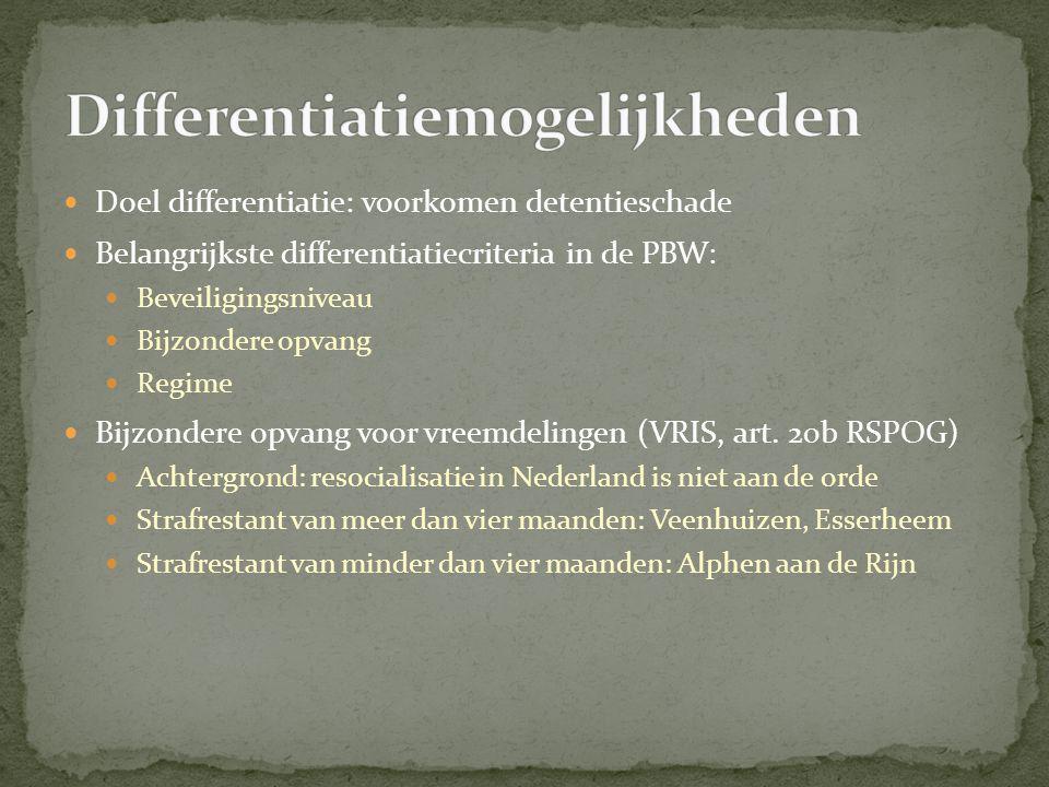  Doel differentiatie: voorkomen detentieschade  Belangrijkste differentiatiecriteria in de PBW:  Beveiligingsniveau  Bijzondere opvang  Regime  Bijzondere opvang voor vreemdelingen (VRIS, art.