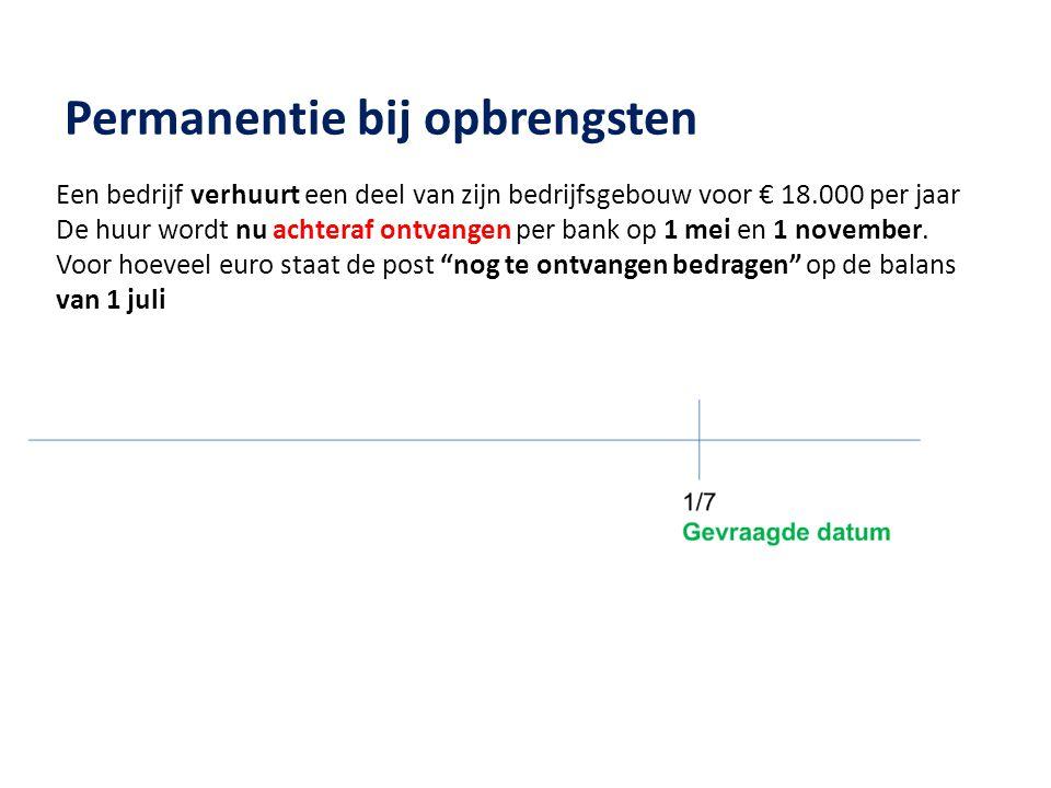 Permanentie bij opbrengsten Een bedrijf verhuurt een deel van zijn bedrijfsgebouw voor € 18.000 per jaar De huur wordt nu achteraf ontvangen per bank