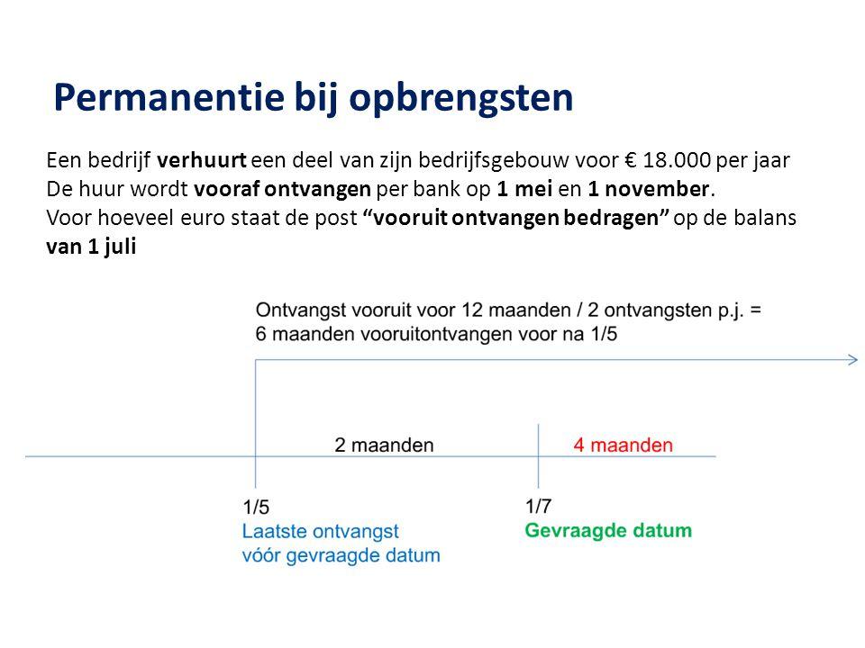 Permanentie bij opbrengsten Een bedrijf verhuurt een deel van zijn bedrijfsgebouw voor € 18.000 per jaar De huur wordt vooraf ontvangen per bank op 1