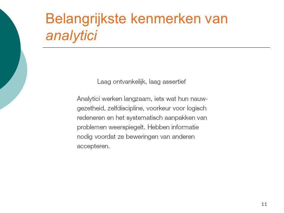 Belangrijkste kenmerken van analytici 11