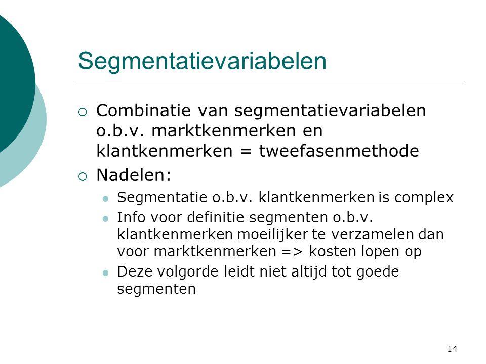 14 Segmentatievariabelen  Combinatie van segmentatievariabelen o.b.v. marktkenmerken en klantkenmerken = tweefasenmethode  Nadelen:  Segmentatie o.