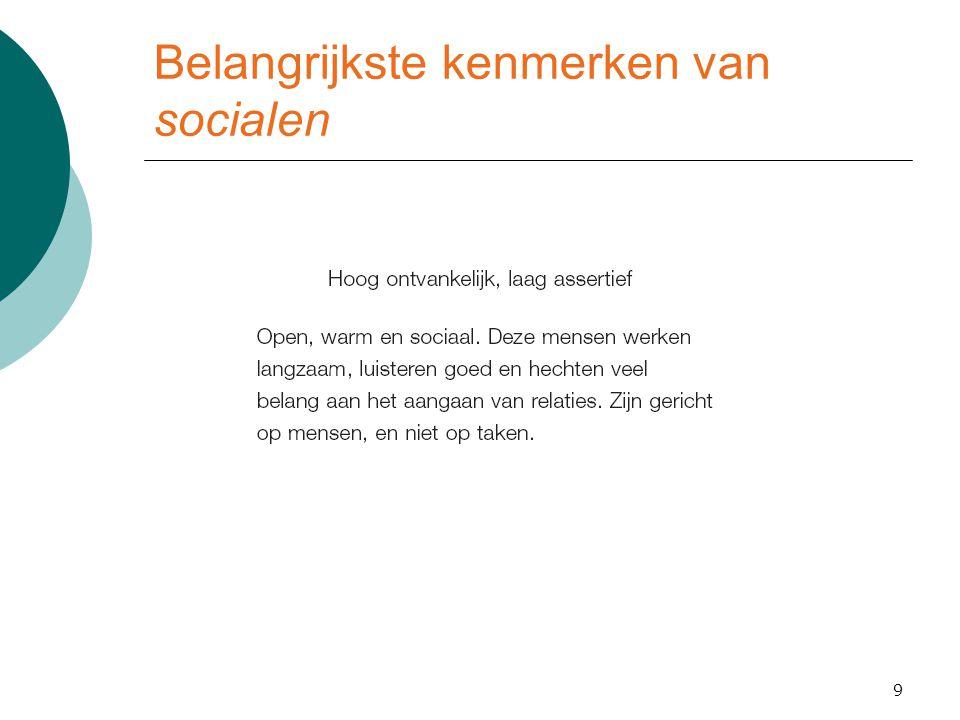 Belangrijkste kenmerken van socialen 9