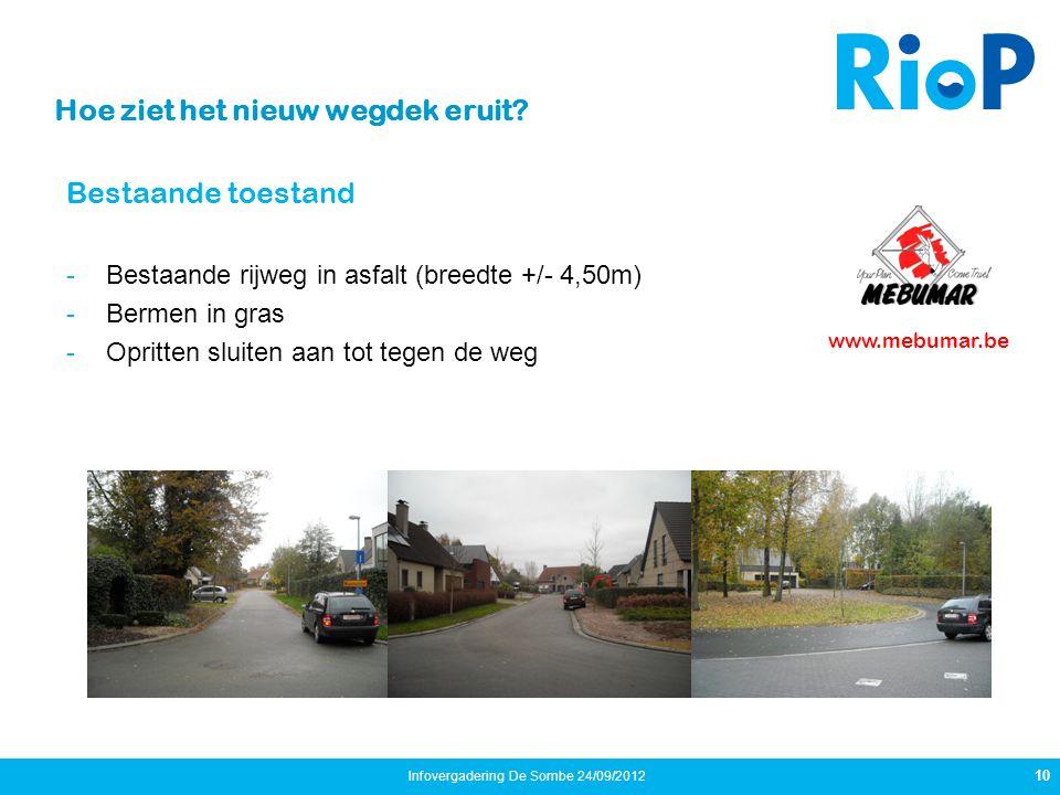 Bestaande toestand -Bestaande rijweg in asfalt (breedte +/- 4,50m) -Bermen in gras -Opritten sluiten aan tot tegen de weg 10 Infovergadering De Sombe