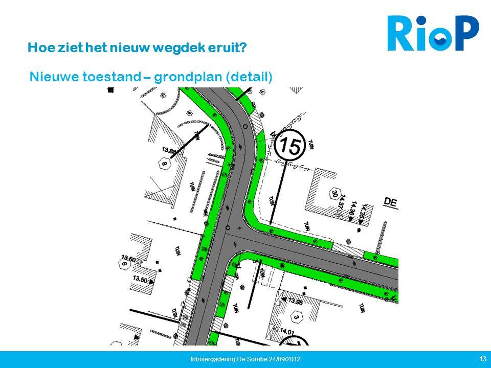 Hoe ziet het nieuw wegdek eruit? Nieuwe toestand – grondplan (detail) 13 Infovergadering De Sombe 24/09/2012