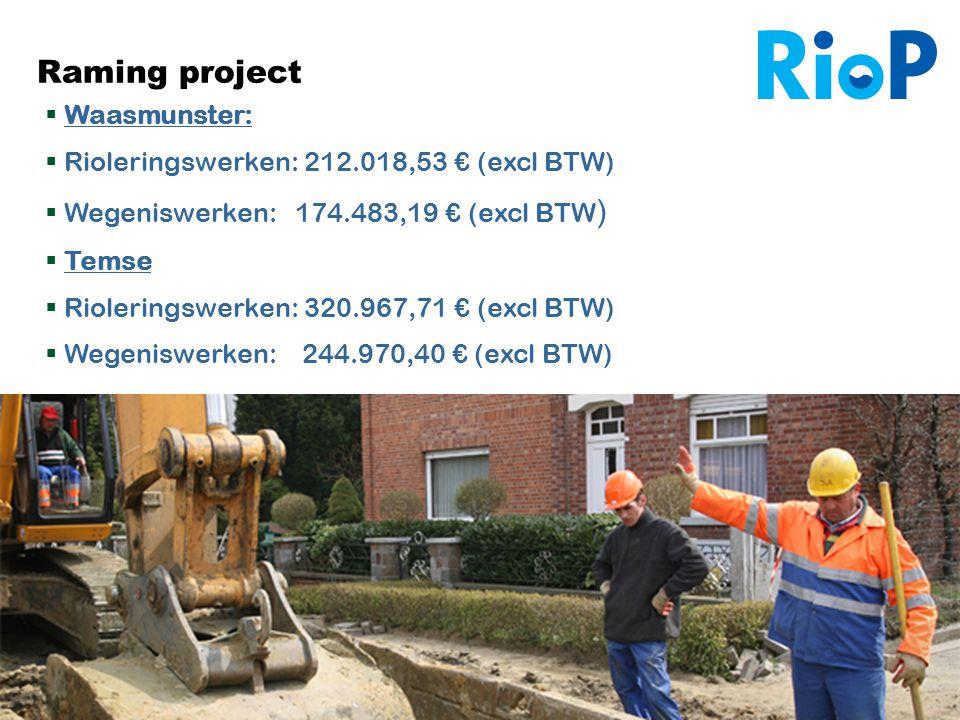 Infovergadering De Sombe 24/09/2012 15 Raming project  Waasmunster:  Rioleringswerken: 212.018,53 € (excl BTW)  Wegeniswerken: 174.483,19 € (excl B