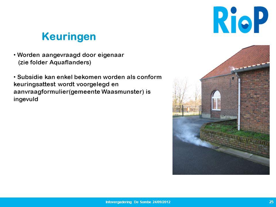 25 Infovergadering De Sombe 24/09/2012 Keuringen • Worden aangevraagd door eigenaar (zie folder Aquaflanders) • Subsidie kan enkel bekomen worden als