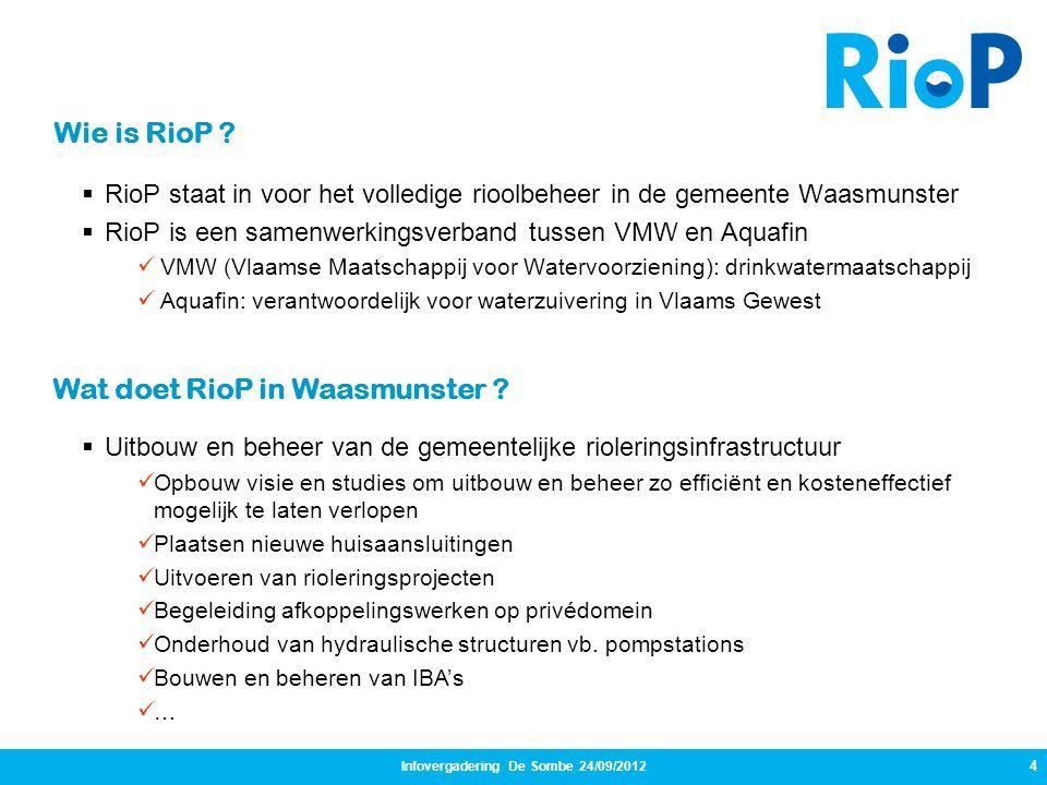 Infovergadering De Sombe 24/09/2012 4  RioP staat in voor het volledige rioolbeheer in de gemeente Waasmunster  RioP is een samenwerkingsverband tus