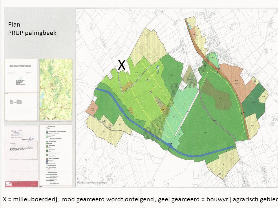 Plan PRUP palingbeek X X = milieuboerderij, rood gearceerd wordt onteigend, geel gearceerd = bouwvrij agrarisch gebied