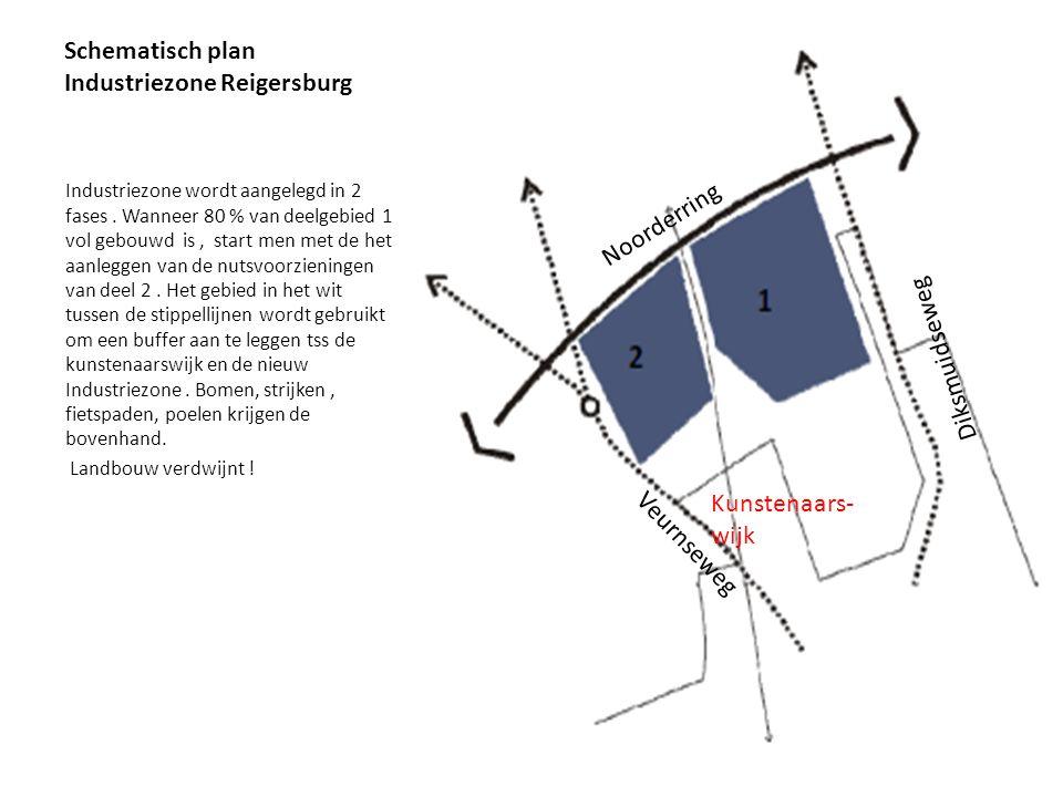 Schematisch plan Industriezone Reigersburg Industriezone wordt aangelegd in 2 fases. Wanneer 80 % van deelgebied 1 vol gebouwd is, start men met de he