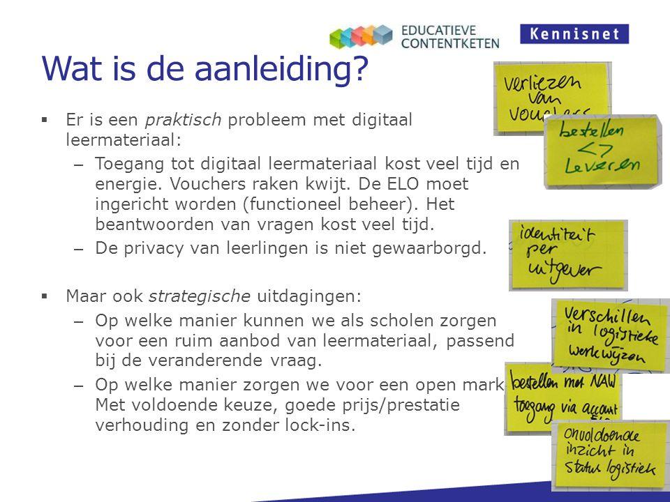 Wat is de aanleiding?  Er is een praktisch probleem met digitaal leermateriaal: – Toegang tot digitaal leermateriaal kost veel tijd en energie. Vouch