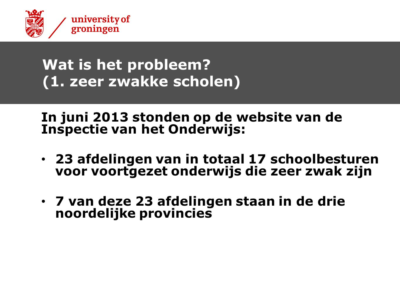 In juni 2013 stonden op de website van de Inspectie van het Onderwijs: • 23 afdelingen van in totaal 17 schoolbesturen voor voortgezet onderwijs die z