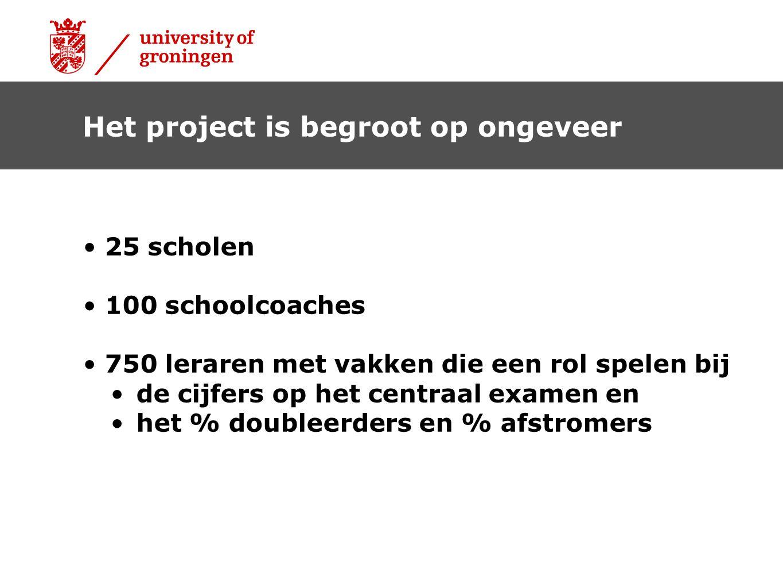 • 25 scholen • 100 schoolcoaches • 750 leraren met vakken die een rol spelen bij • de cijfers op het centraal examen en • het % doubleerders en % afst