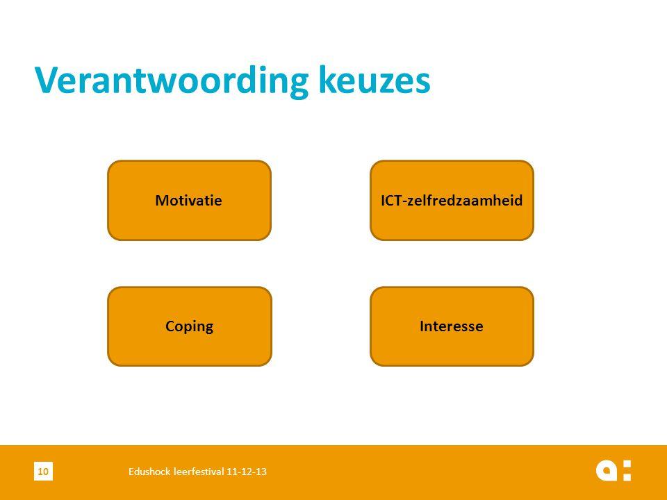 Verantwoording keuzes 10Edushock leerfestival 11-12-13 Motivatie Coping ICT-zelfredzaamheid Interesse
