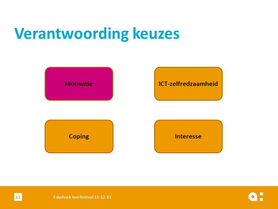 Verantwoording keuzes 11Edushock leerfestival 11-12-13 Motivatie Coping ICT-zelfredzaamheid Interesse