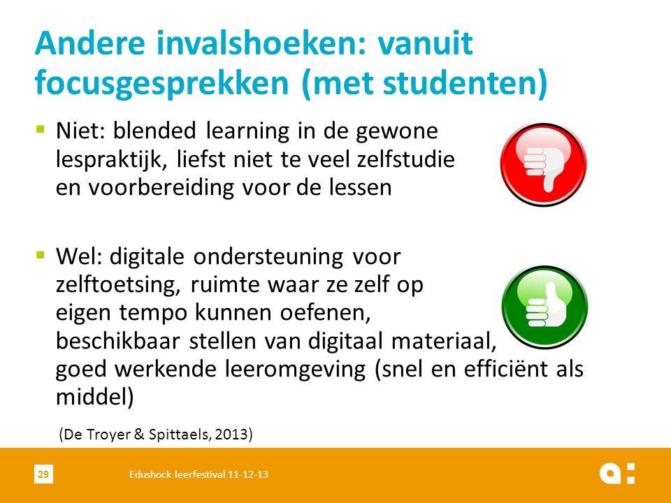  Niet: blended learning in de gewone lespraktijk, liefst niet te veel zelfstudie en voorbereiding voor de lessen  Wel: digitale ondersteuning voor z