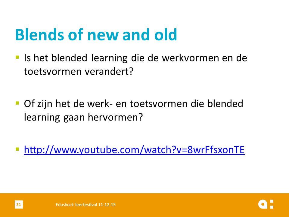  Is het blended learning die de werkvormen en de toetsvormen verandert?  Of zijn het de werk- en toetsvormen die blended learning gaan hervormen? 