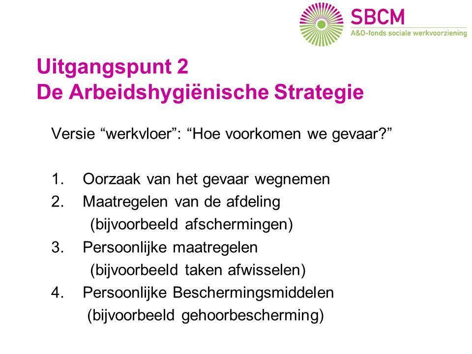 """Uitgangspunt 2 De Arbeidshygiënische Strategie Versie """"werkvloer"""": """"Hoe voorkomen we gevaar?"""" 1.Oorzaak van het gevaar wegnemen 2.Maatregelen van de a"""