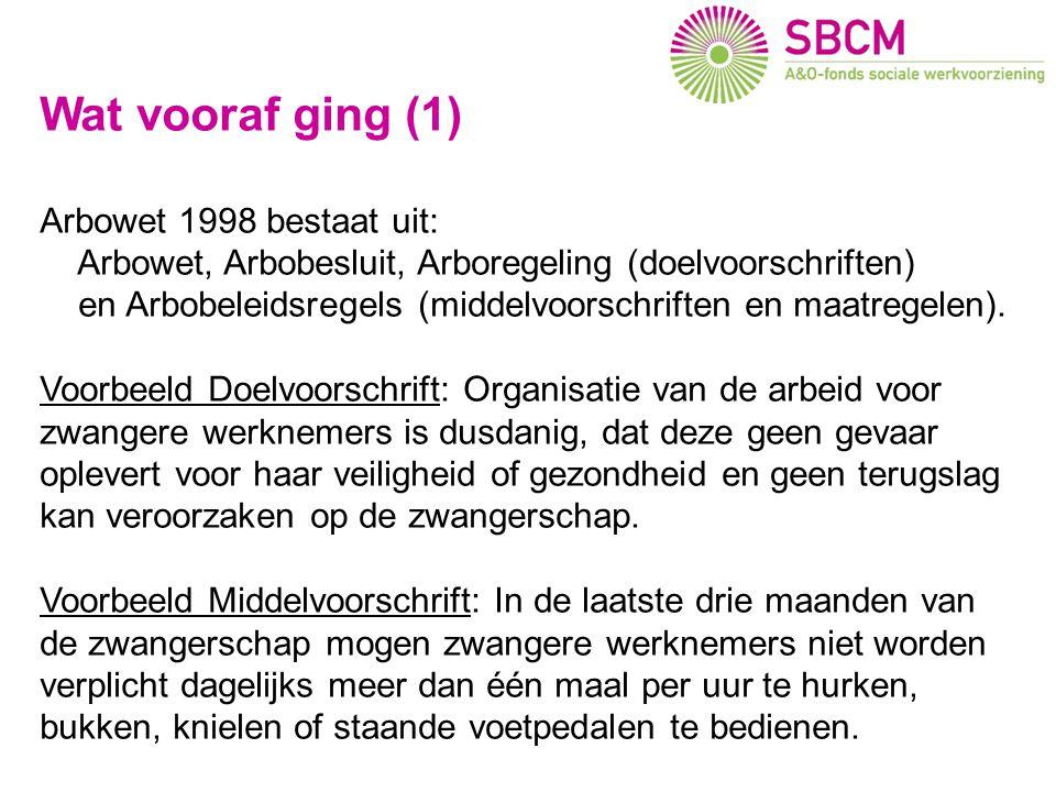 Wat vooraf ging (1) Arbowet 1998 bestaat uit: Arbowet, Arbobesluit, Arboregeling (doelvoorschriften) en Arbobeleidsregels (middelvoorschriften en maat