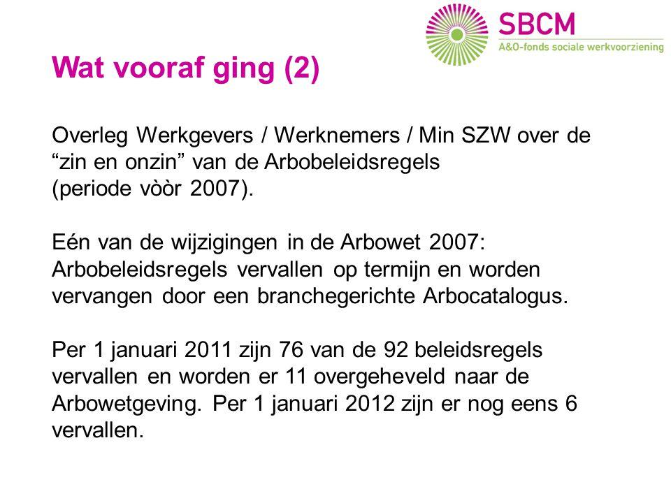 """Wat vooraf ging (2) Overleg Werkgevers / Werknemers / Min SZW over de """"zin en onzin"""" van de Arbobeleidsregels (periode vòòr 2007). Eén van de wijzigin"""