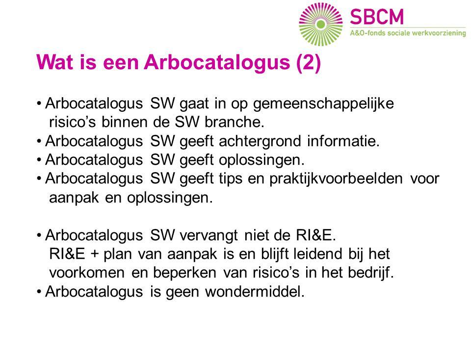 Wat is een Arbocatalogus (2) • Arbocatalogus SW gaat in op gemeenschappelijke risico's binnen de SW branche. • Arbocatalogus SW geeft achtergrond info