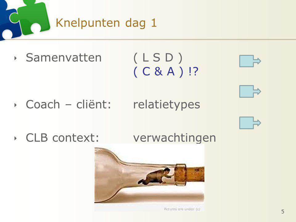 Knelpunten dag 1  Samenvatten ( L S D ) ( C & A ) !?  Coach – cliënt: relatietypes  CLB context: verwachtingen 5