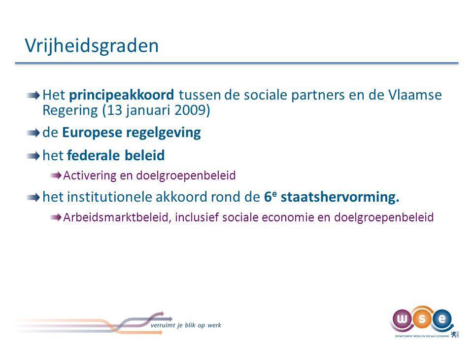 Het principeakkoord tussen de sociale partners en de Vlaamse Regering (13 januari 2009) de Europese regelgeving het federale beleid Activering en doelgroepenbeleid het institutionele akkoord rond de 6 e staatshervorming.