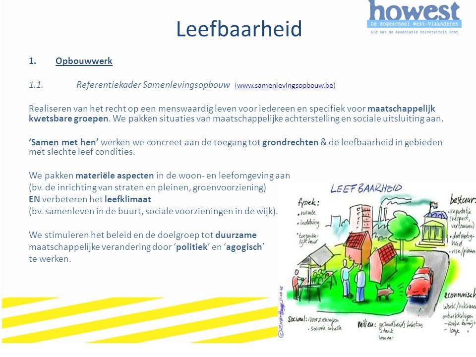 Leefbaarheid 1.Opbouwwerk 1.1.Referentiekader Samenlevingsopbouw (www.samenlevingsopbouw.be)www.samenlevingsopbouw.be Realiseren van het recht op een