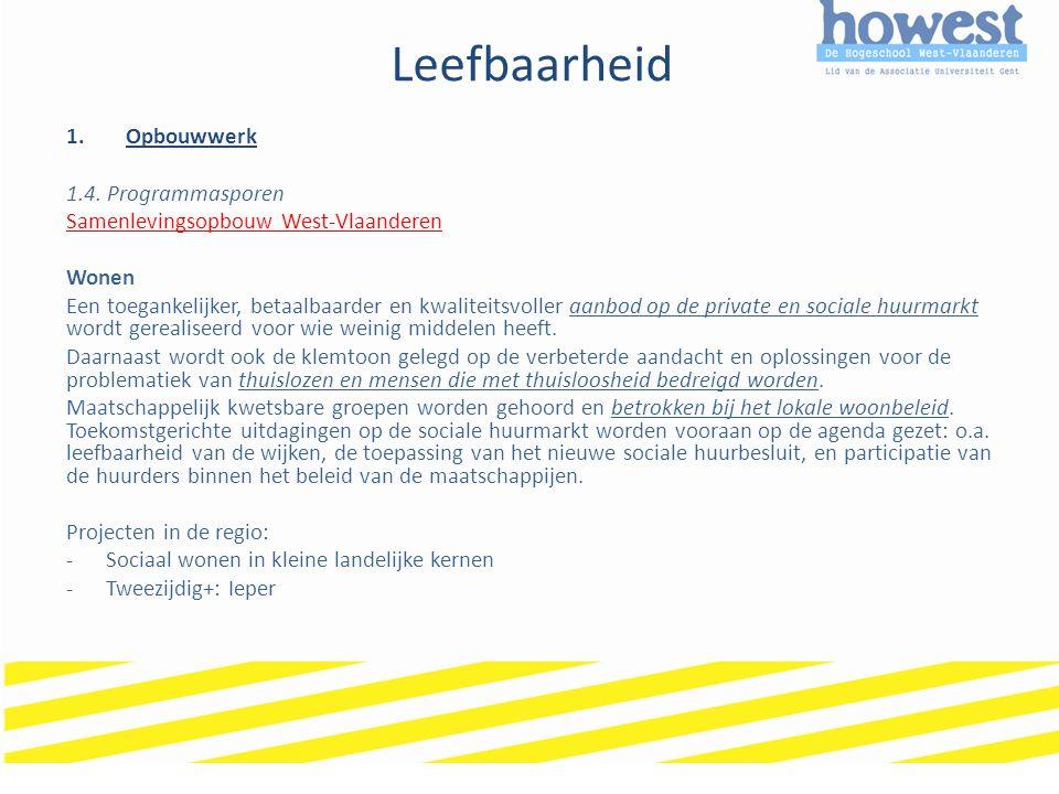 Leefbaarheid 1.Opbouwwerk 1.4. Programmasporen Samenlevingsopbouw West-Vlaanderen Wonen Een toegankelijker, betaalbaarder en kwaliteitsvoller aanbod o