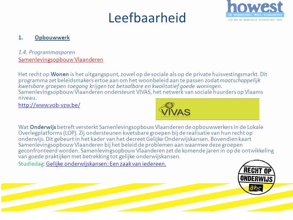 Leefbaarheid 1.Opbouwwerk 1.4. Programmasporen Samenlevingsopbouw Vlaanderen Het recht op Wonen is het uitgangspunt, zowel op de sociale als op de pri