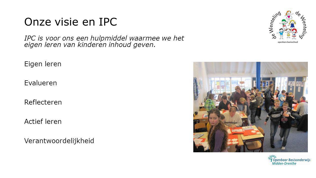 Onze visie en IPC IPC is voor ons een hulpmiddel waarmee we het eigen leren van kinderen inhoud geven. Eigen leren Evalueren Reflecteren Actief leren