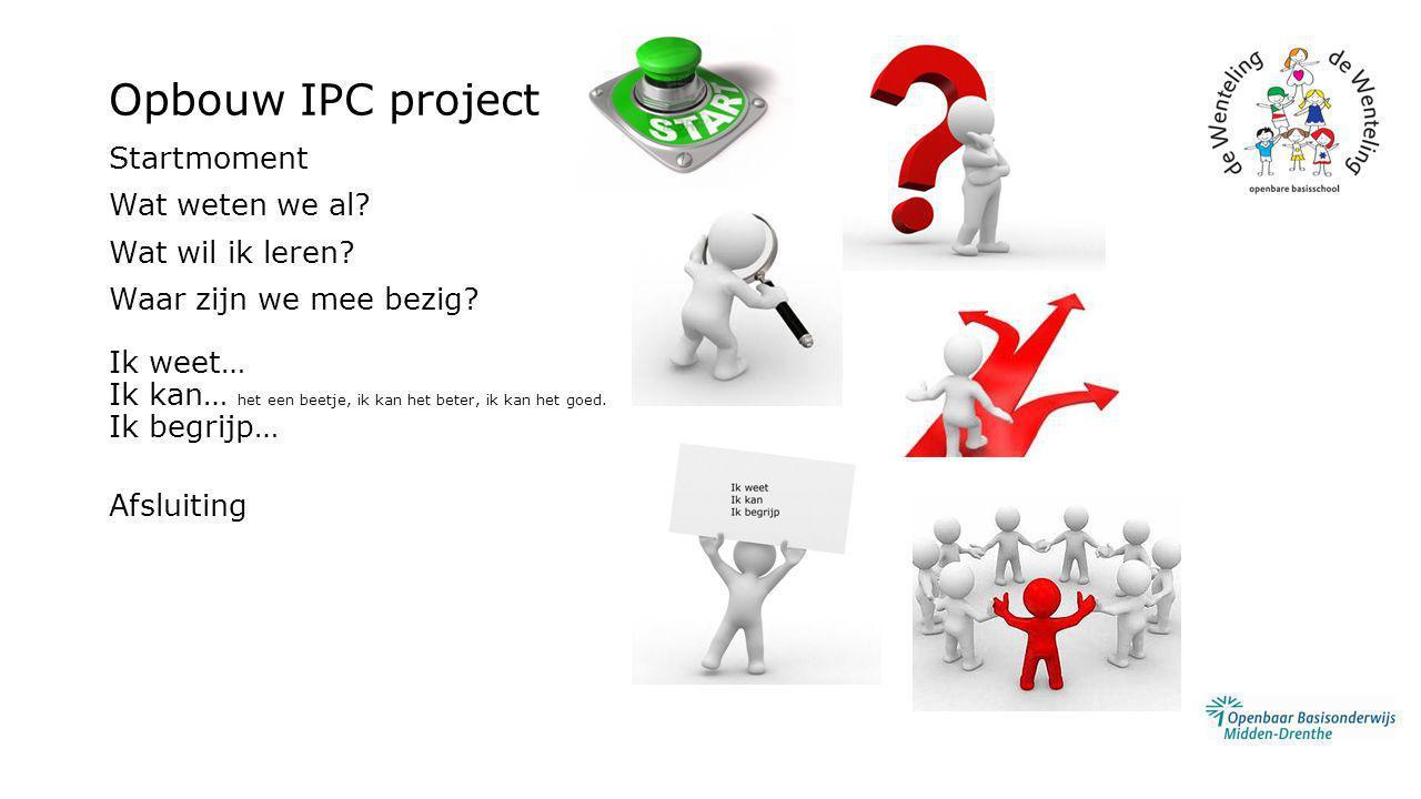 Opbouw IPC project Startmoment Wat weten we al? Wat wil ik leren? Waar zijn we mee bezig? Ik weet… Ik kan… het een beetje, ik kan het beter, ik kan he