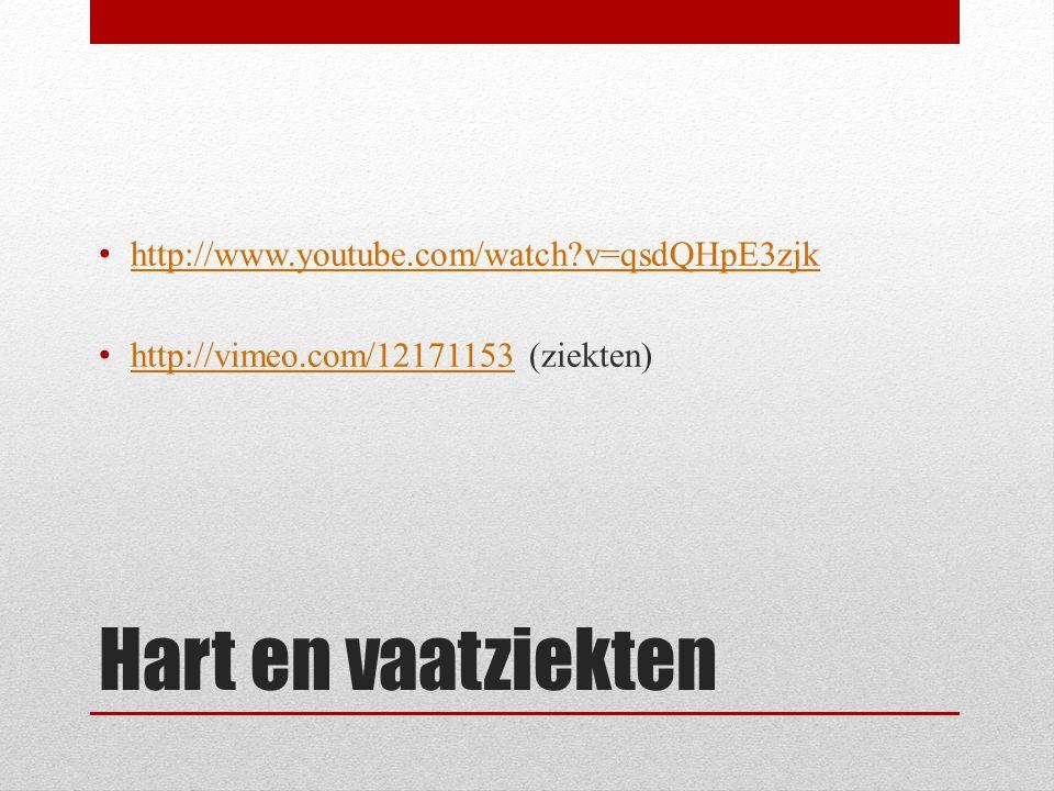 Hart en vaatziekten • http://www.youtube.com/watch?v=qsdQHpE3zjk http://www.youtube.com/watch?v=qsdQHpE3zjk • http://vimeo.com/12171153 (ziekten) http